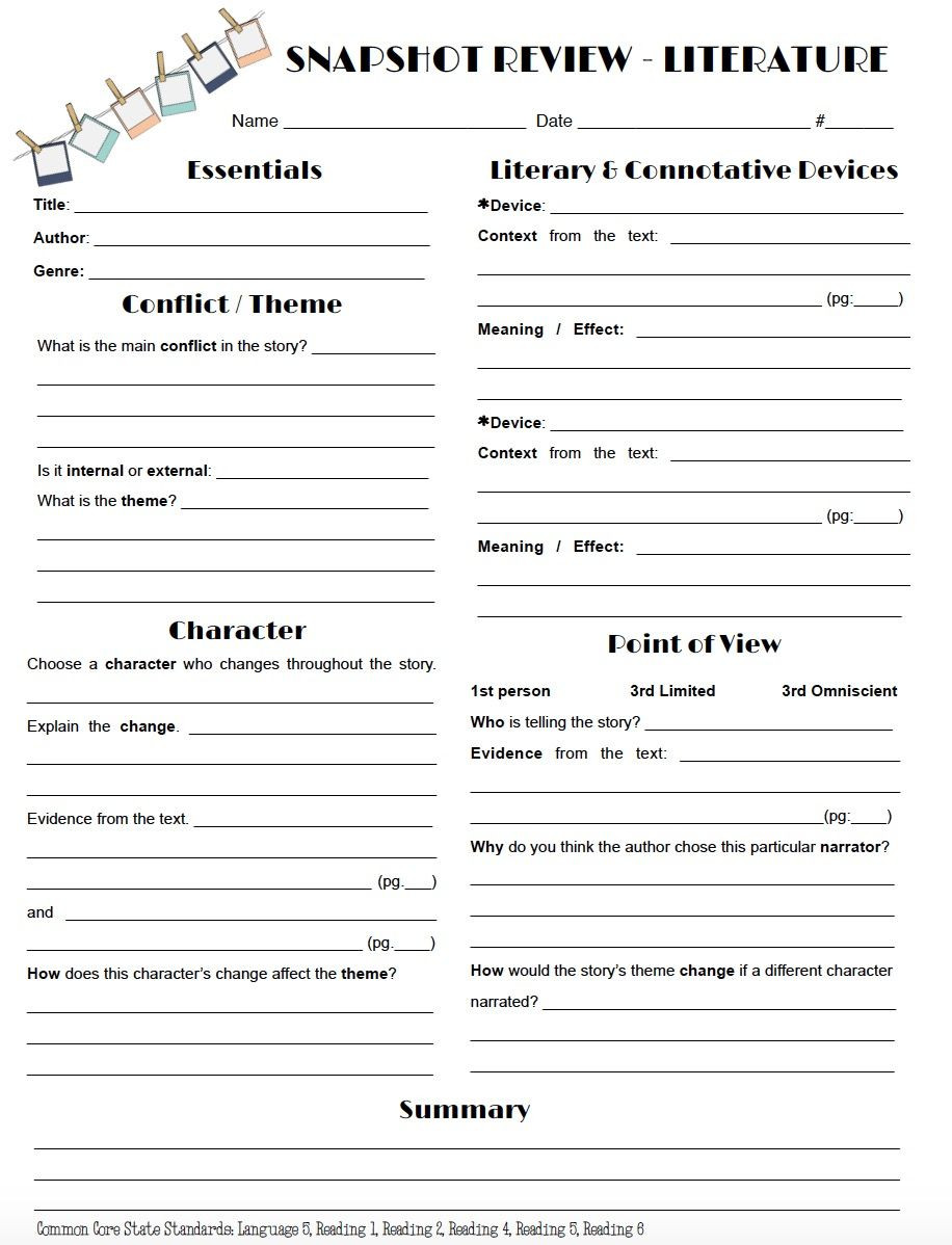 Theme Worksheets for Middle School Review Literature In A Snap with This One Page Worksheet
