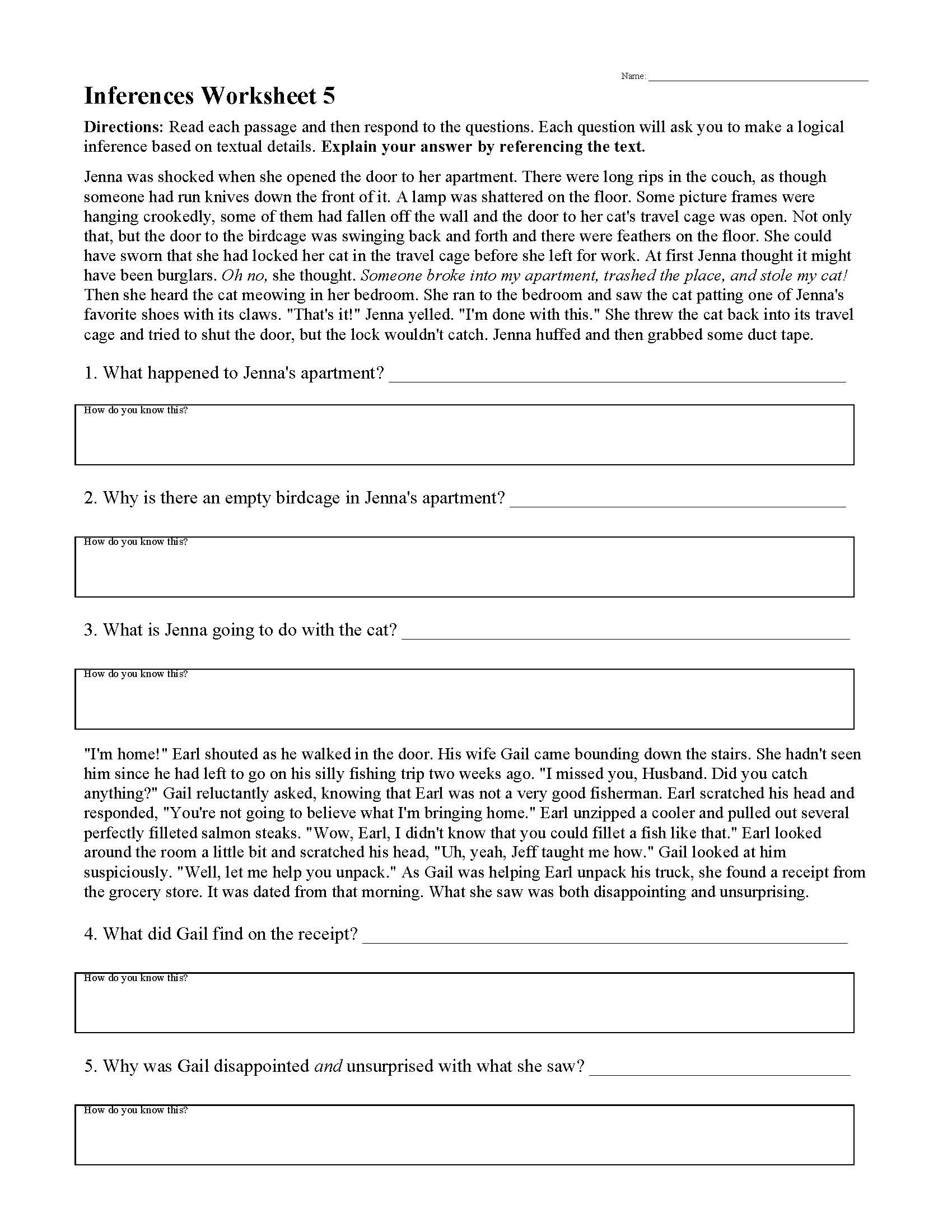 Theme Worksheets High School Inferences Worksheets