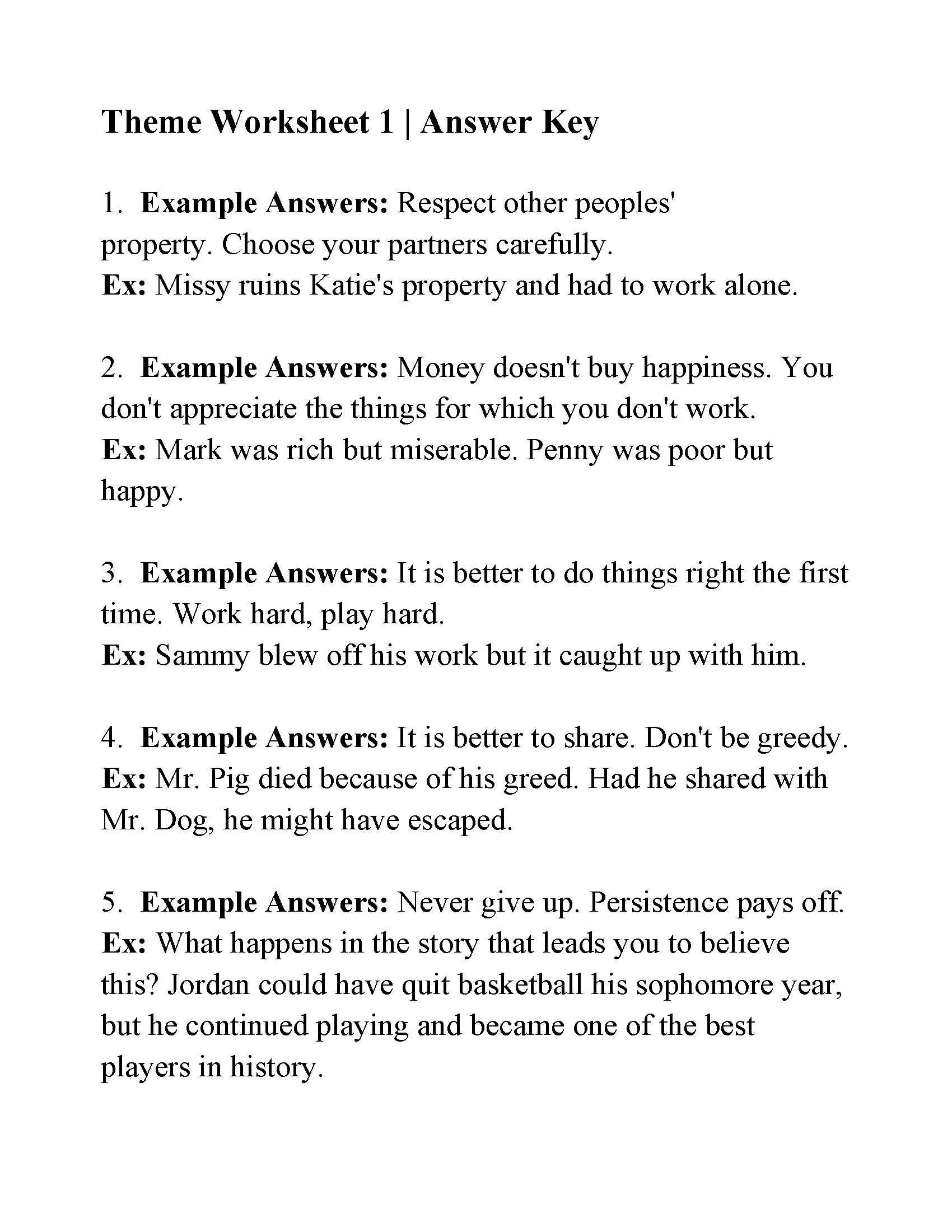 Theme Worksheets Middle School This is the Answer Key for the theme Worksheet 1