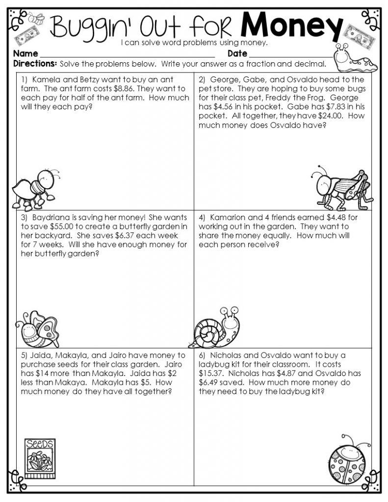 Third Grade Fraction Word Problems 4th Grade Math Word Problems Best Coloring Pages for Kids