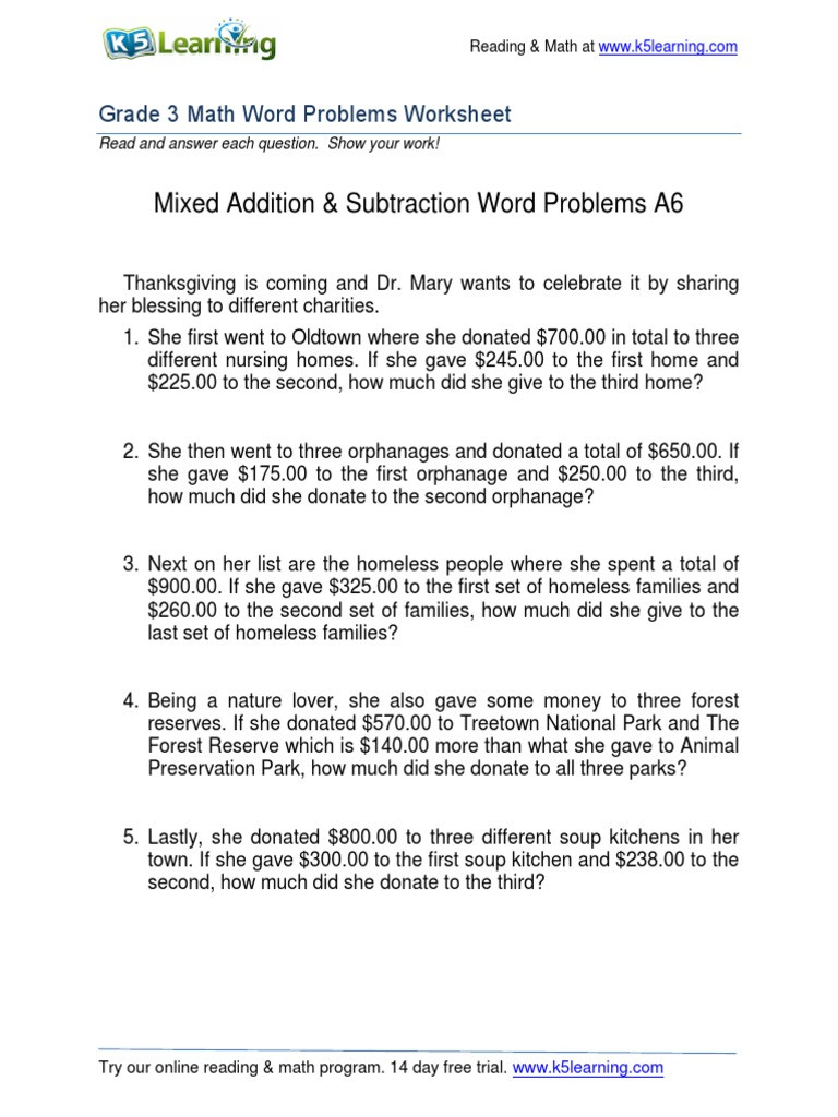 Third Grade Fraction Word Problems Grade 3 Mixed Addition Subtraction Word Problems A6