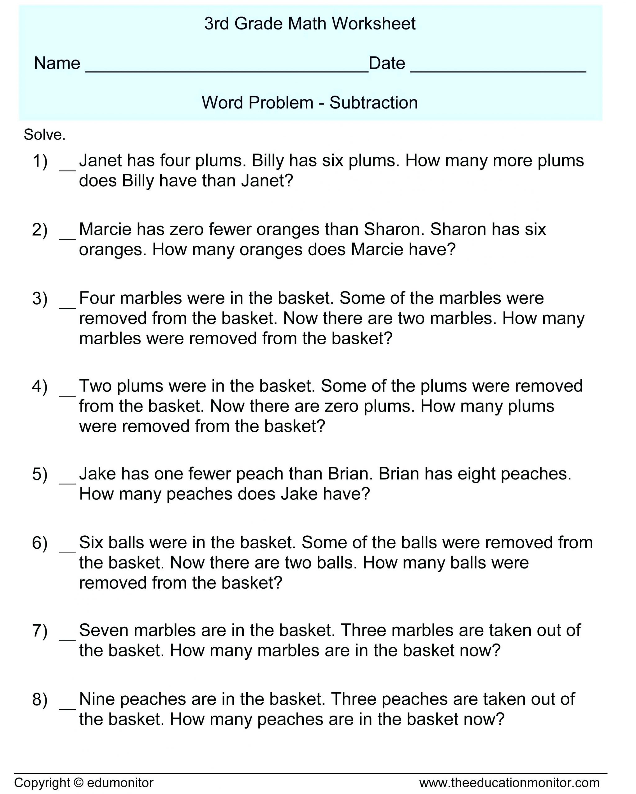Third Grade Fraction Word Problems Rounding Word Problems 3rd Grade Luxury Collection Math
