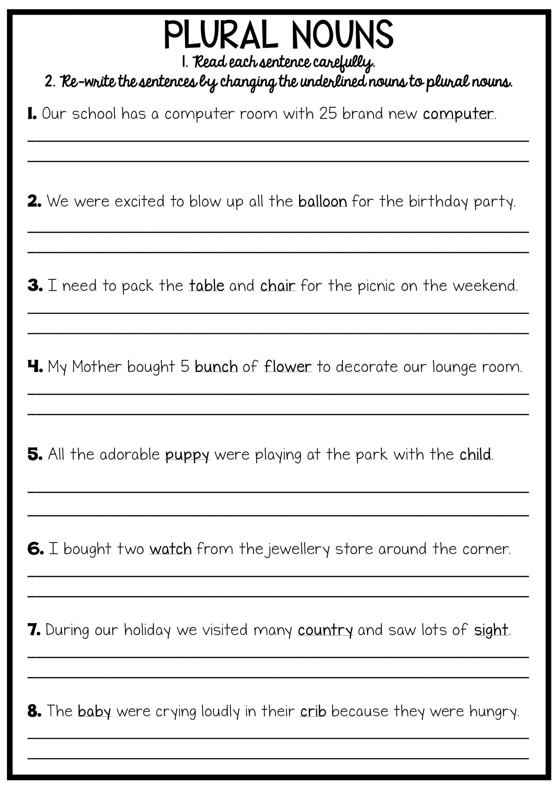 Third Grade Grammar Worksheet Grammar Worksheets 8th Grade English Printable Reading