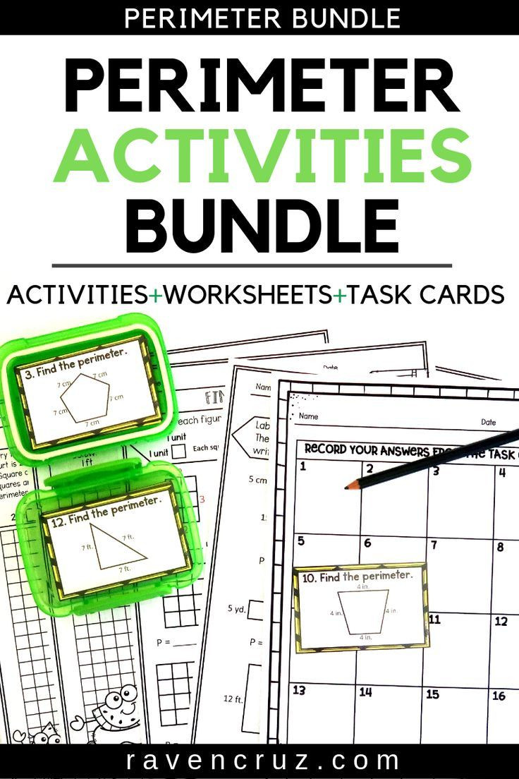 Third Grade Perimeter Worksheets Perimeter Worksheets and Task Cards Summer themed