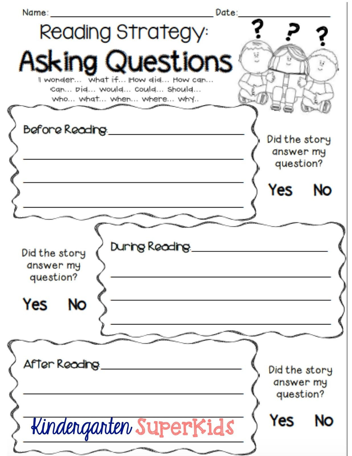 Timeline Worksheets for 1st Grade asking Questions Reading Strategy Free Student Recording