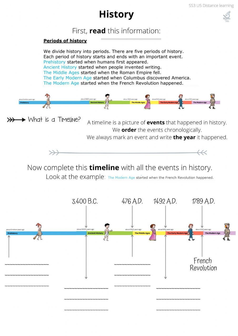 Timeline Worksheets for Middle School Periods In History Interactive Worksheet
