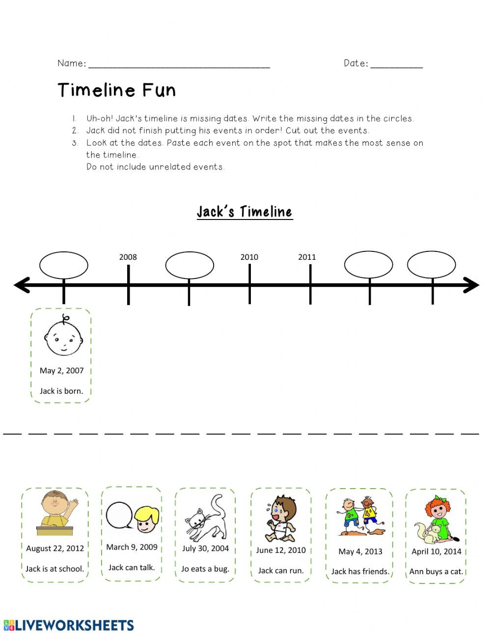 Timeline Worksheets for Middle School Timeline Online Worksheet and Pdf