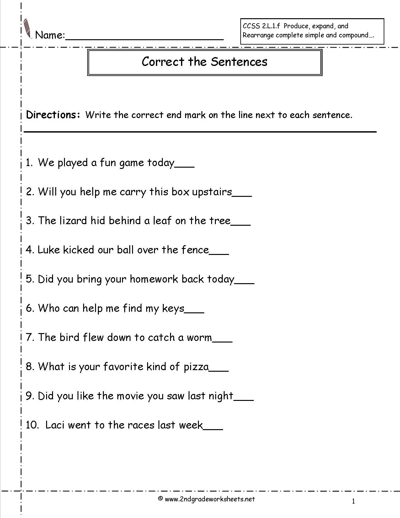 Topic Sentence Worksheets 4th Grade Sentence Correction Worksheets 6th Grade