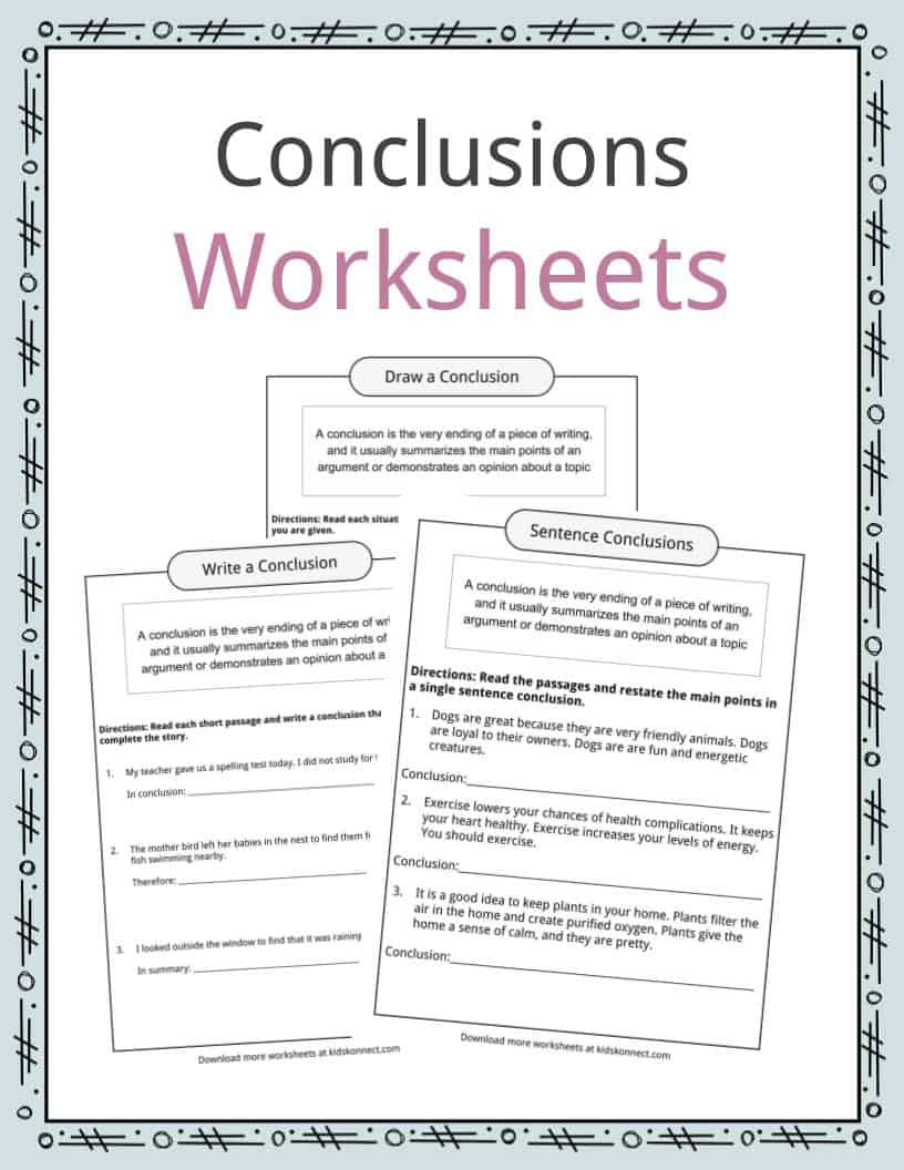 Topic Sentences Worksheets 3rd Grade Conclusion Worksheets Examples Definition & Meaning for Kids