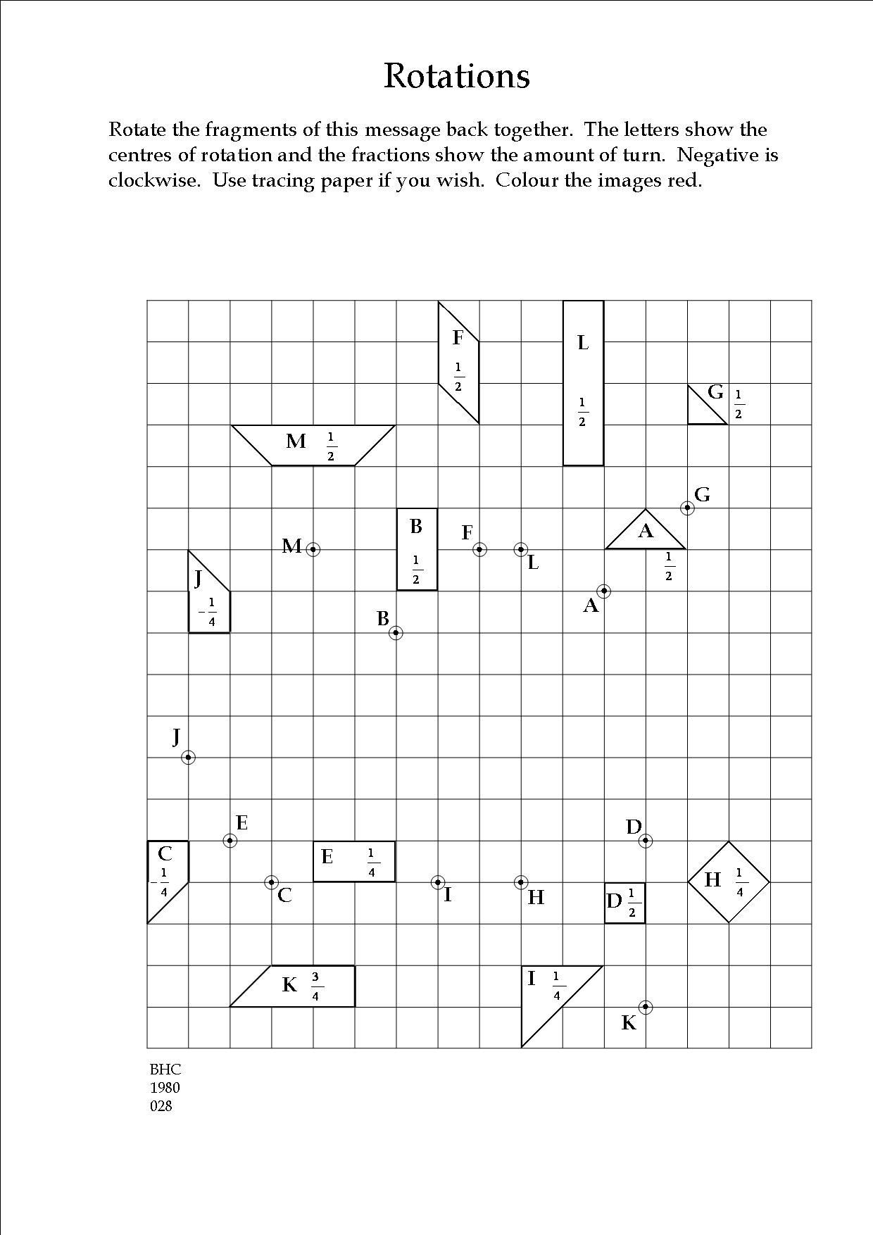 Transformation Math Worksheets An Exercise In Transformation Geometry