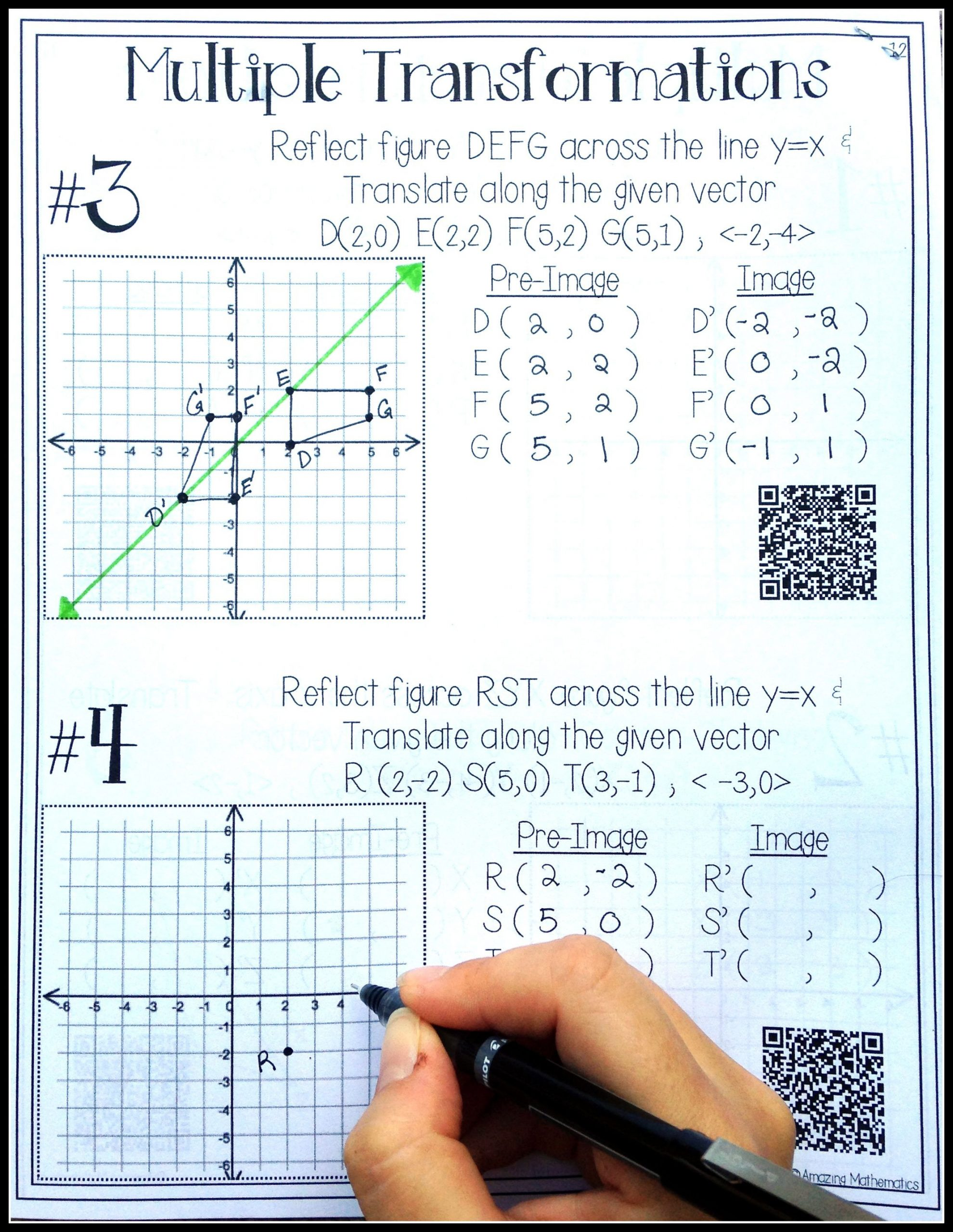 Transformation Math Worksheets Hs Geometry Transformations Workbook Translations