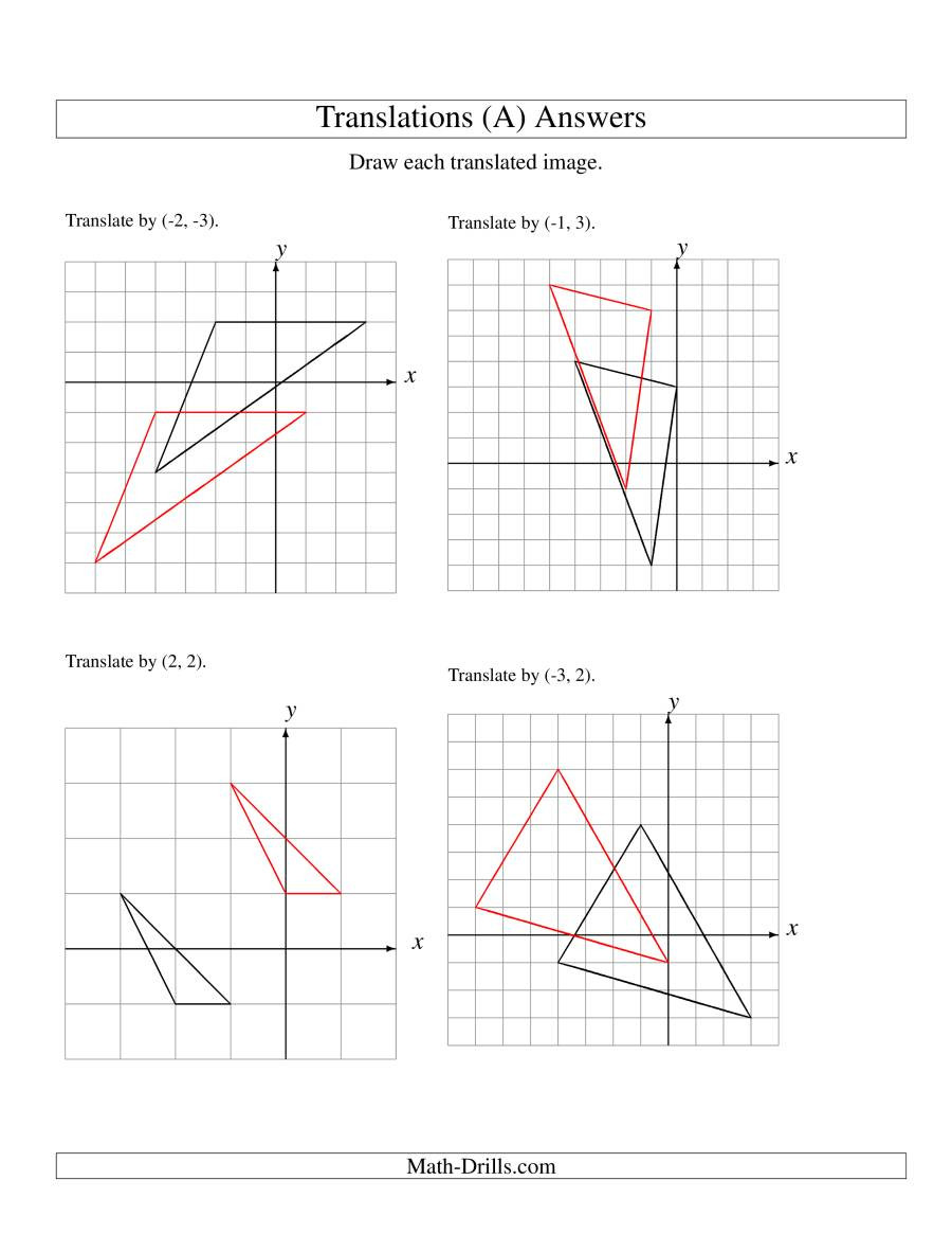 Transformation Math Worksheets Translation Of 3 Vertices Up to 3 Units A