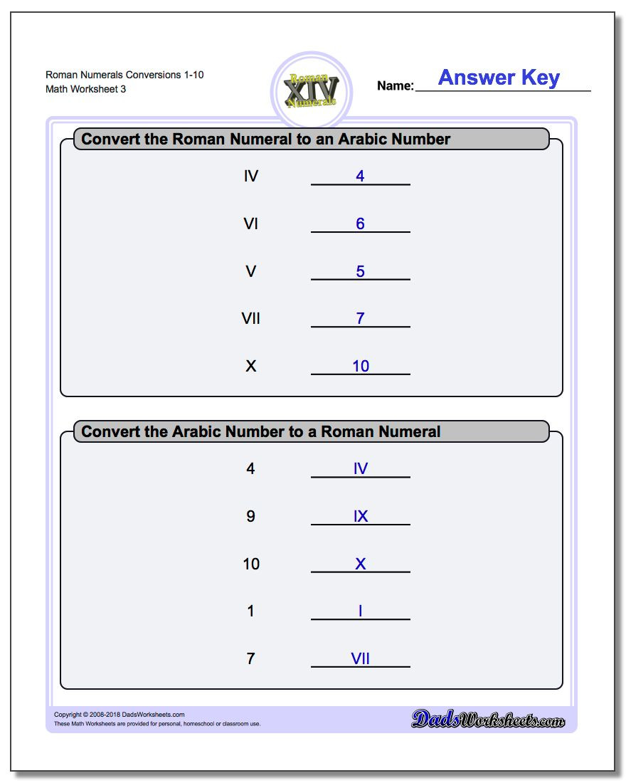 Translation Math Worksheets Roman Numeral Worksheets