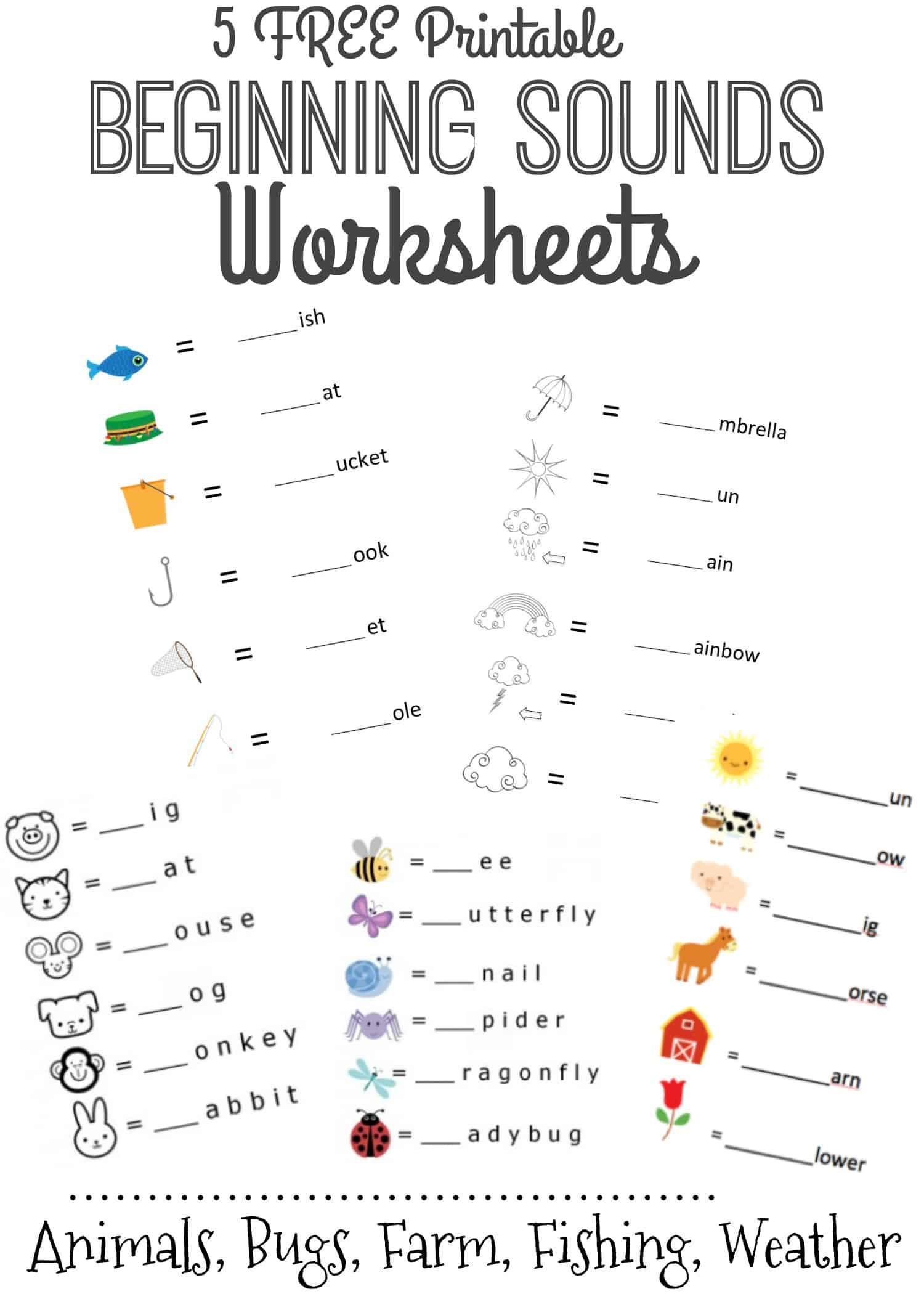 Typing Worksheets Printables Beginning sounds Letter Worksheets for Early Learners