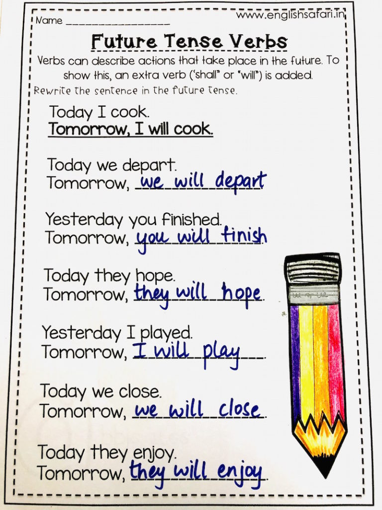 Verb Tense Worksheets 3rd Grade Simple Future Tense Worksheets Free