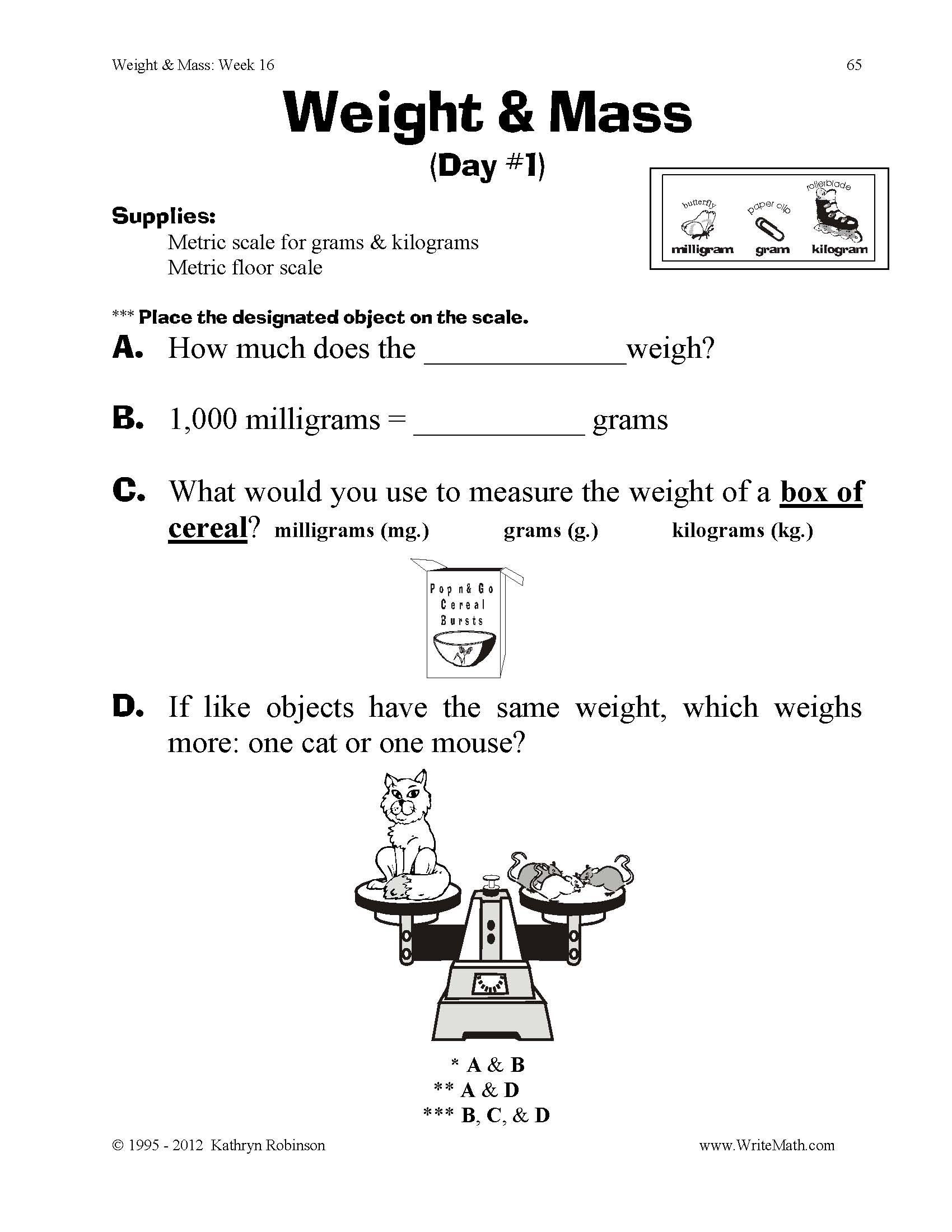 Volume Worksheets 3rd Grade Teaching Weight & Mass 3rd 4th 5th Grade Math Worksheets