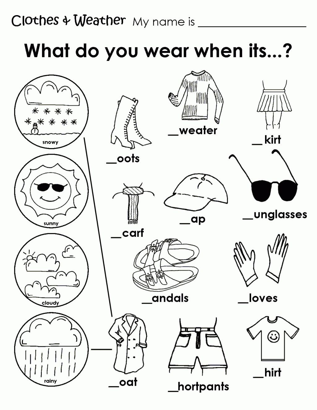 Weather Worksheets for 2nd Grade Printable Weather Clothes Worksheet