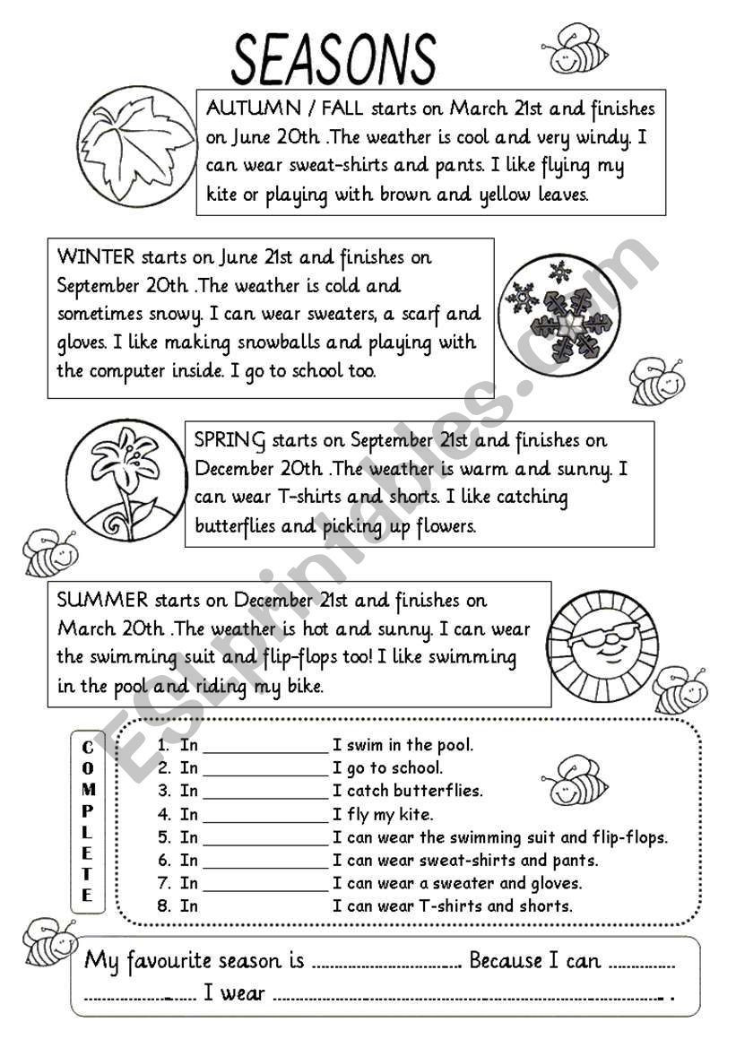 Weather Worksheets for 2nd Grade Seasons Worksheet 2nd Grade