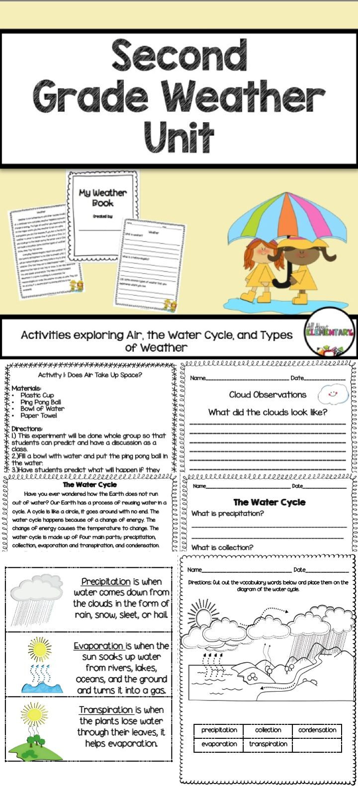 Weather Worksheets for 2nd Grade Weather Activities for Second Grade