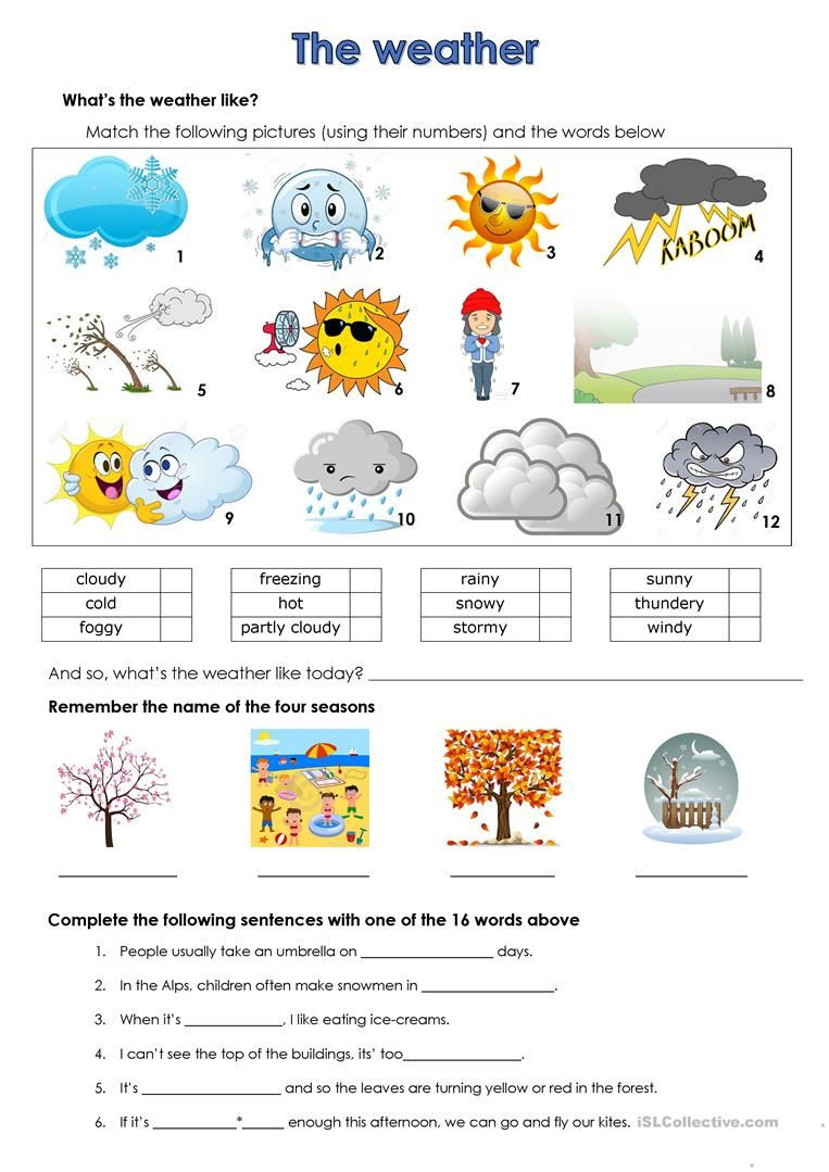 Weather Worksheets for 2nd Grade Weather
