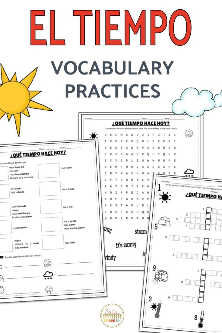Weather Worksheets for Middle School El Tiempo Spanish Weather Vocabulary Practices