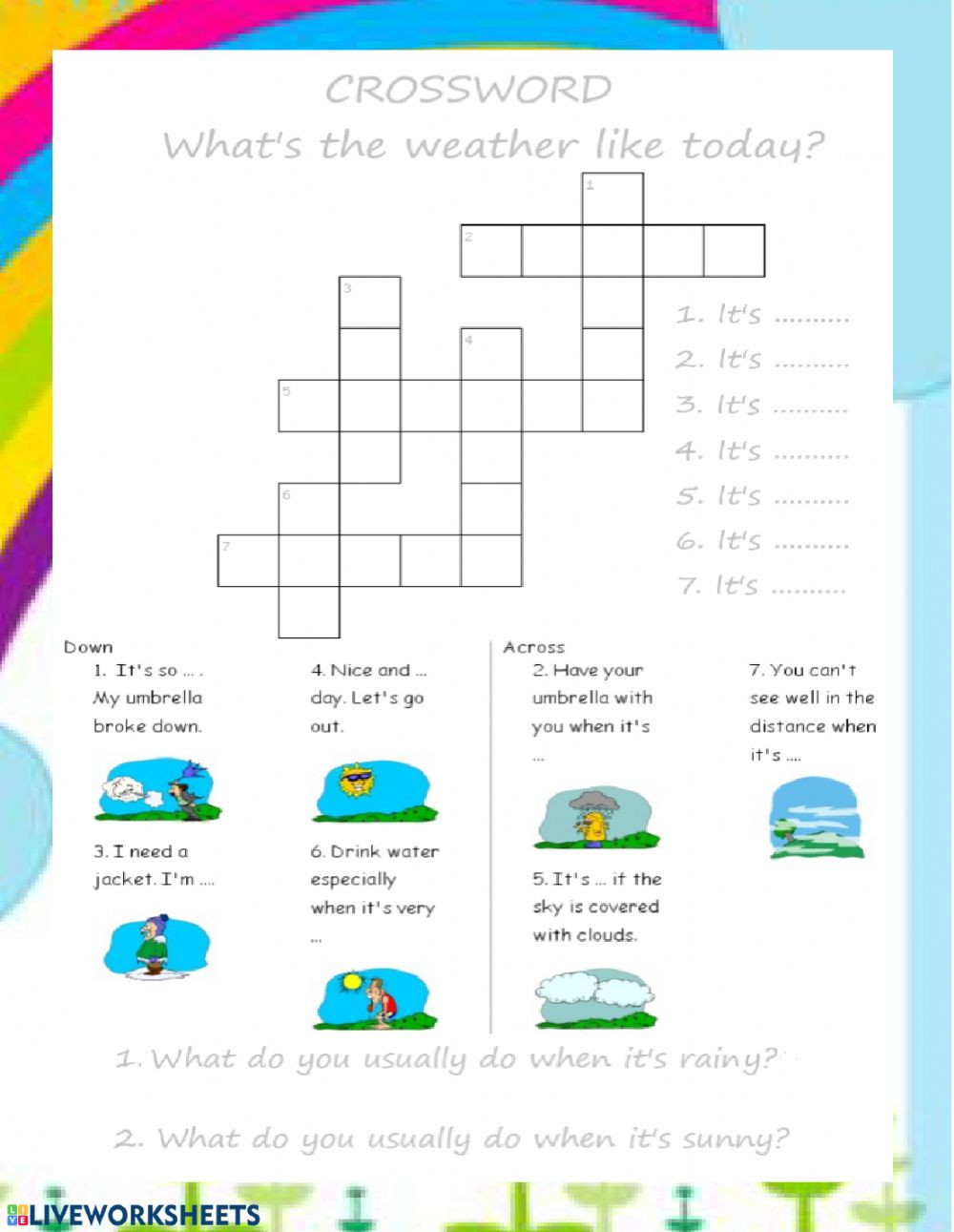 Weather Worksheets for Second Grade What S the Weather Like today Weather Worksheet