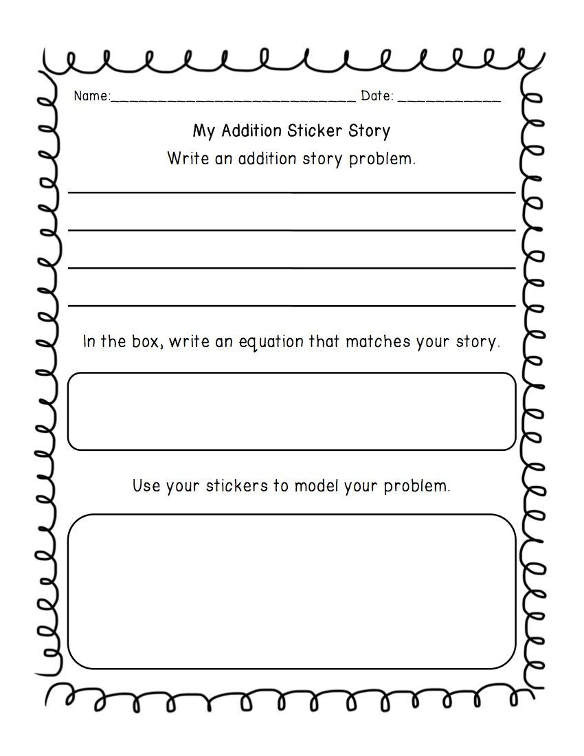 Word Problems Worksheets 1st Grade Addition & Subtraction Write A Word Problem Worksheet with